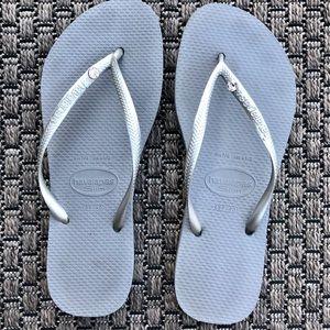 Havaianas Grey & Silver Flip Flops With Crystal